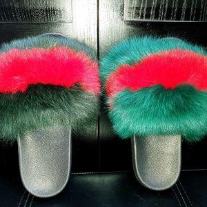 Shoes - InStock -GG Green Red Luxury Fox Fur Fluffy Slide